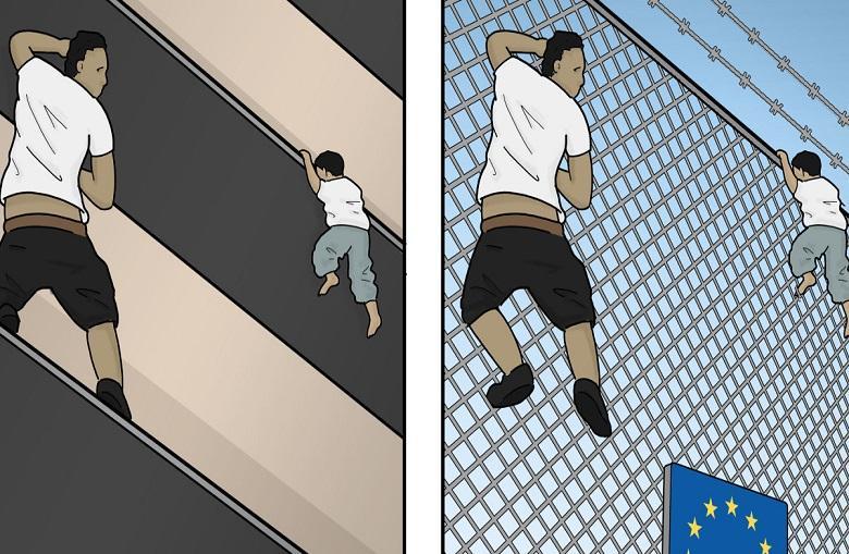"""How """"heroism"""" Mamoudou Gassama climb balcony explain in this cartoon"""
