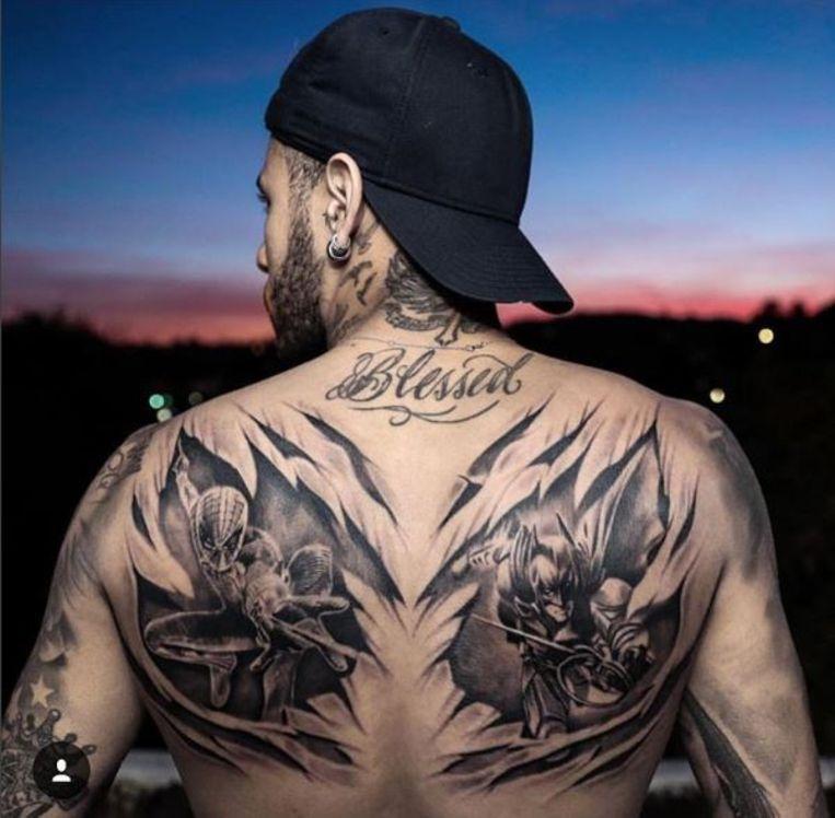 Neymar Tattooed Superheroes Spider Man And Batman On His