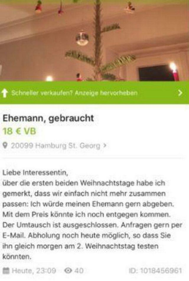 """Woman 'offers' her husband for sale on eBay: """"Exchange is excluded"""" 1"""