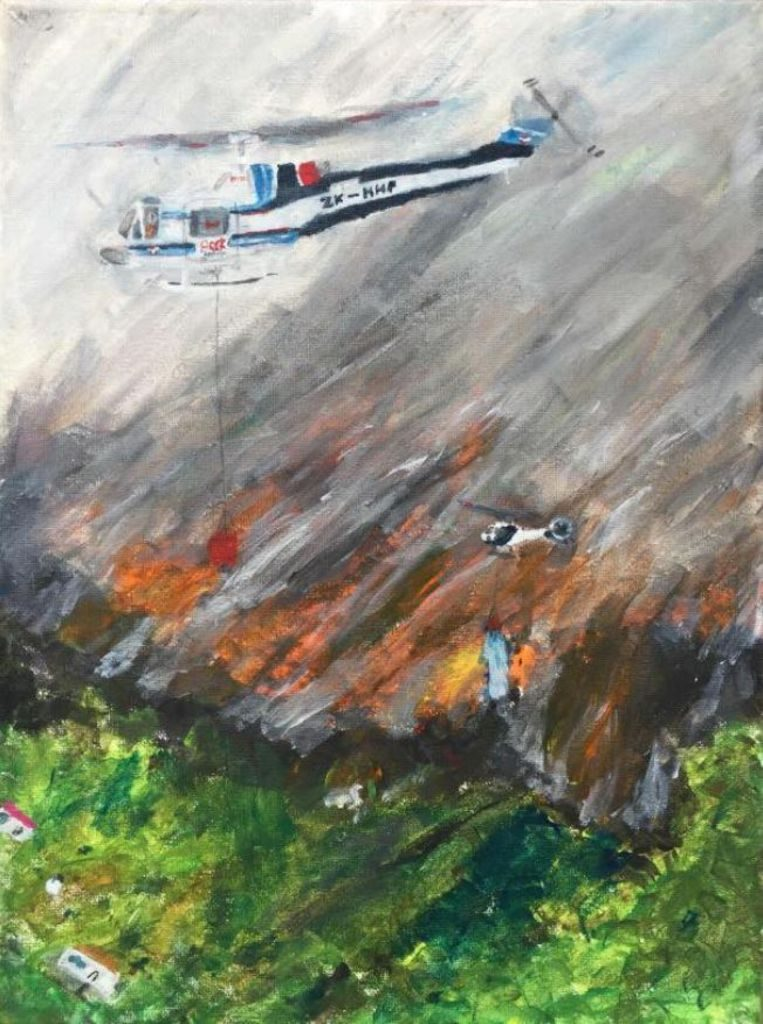 Cheering: A painting that boy (11) makes of forest fires in Nelson goes viral