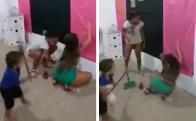 Angry boy (4) hits his elder sister to behave: She is twerking [Video]