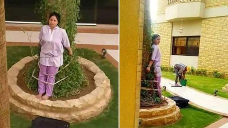 Saudi ties Filipino housemaid to tree as punishment