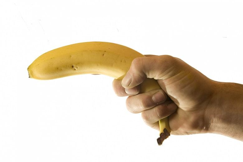 Photo of Laurence Vonderdell (50) robs a bank with banana