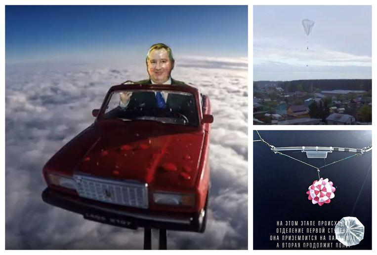 Russian response to the Tesla in space: a toy ladder in the stratosphere