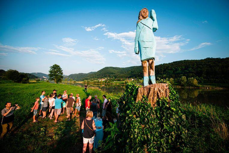 "The brand new statue of Melania Trump: ""Scarecrow"""