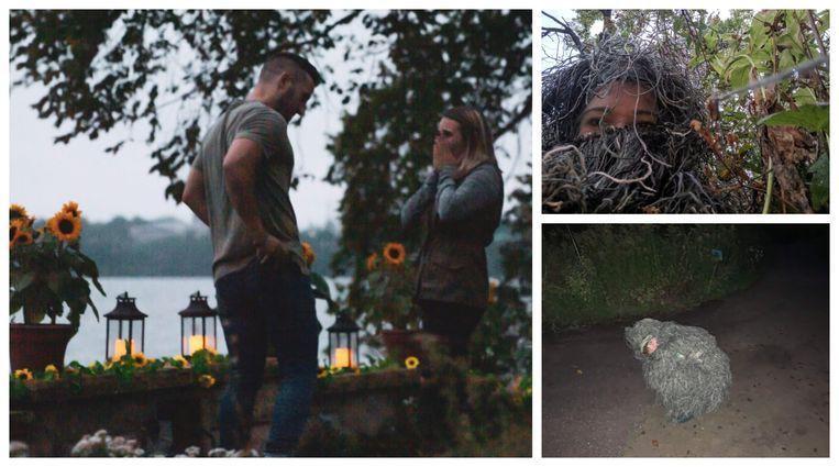 Woman dresses like a bush to secretly capture sister's engagement